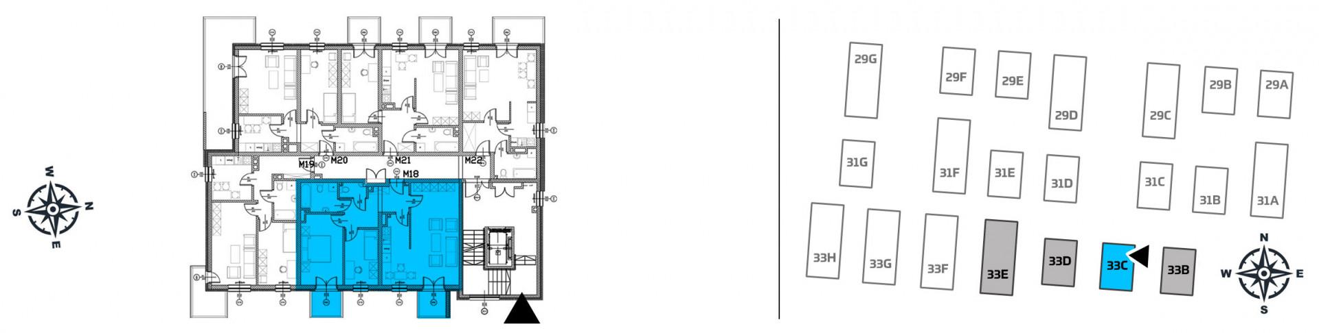 Mieszkanie trzypokojowe 33C/18 rzut 2