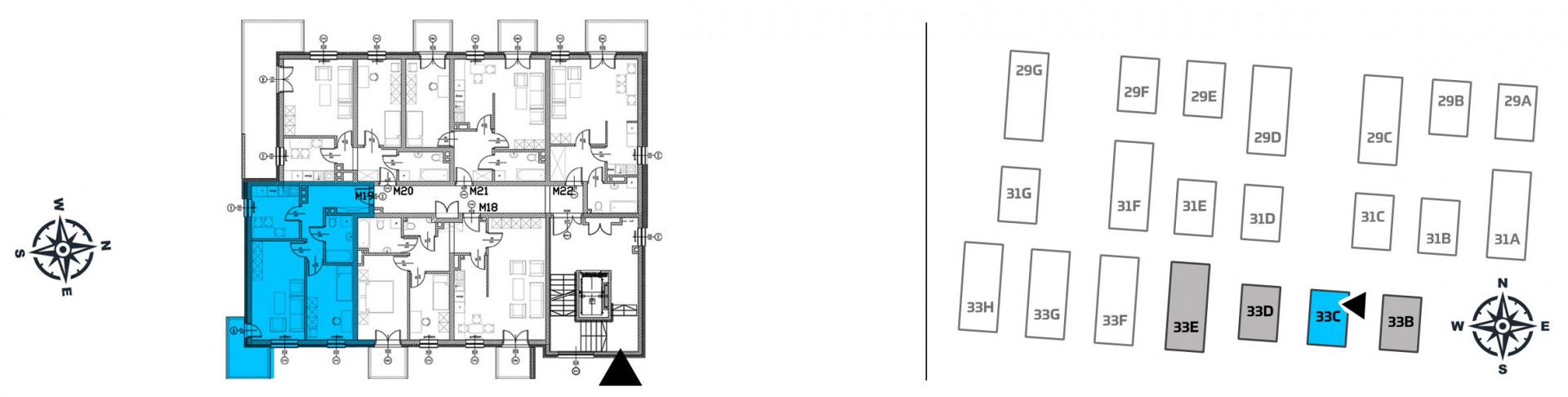 Mieszkanie dwupokojowe 33C/19 rzut 2