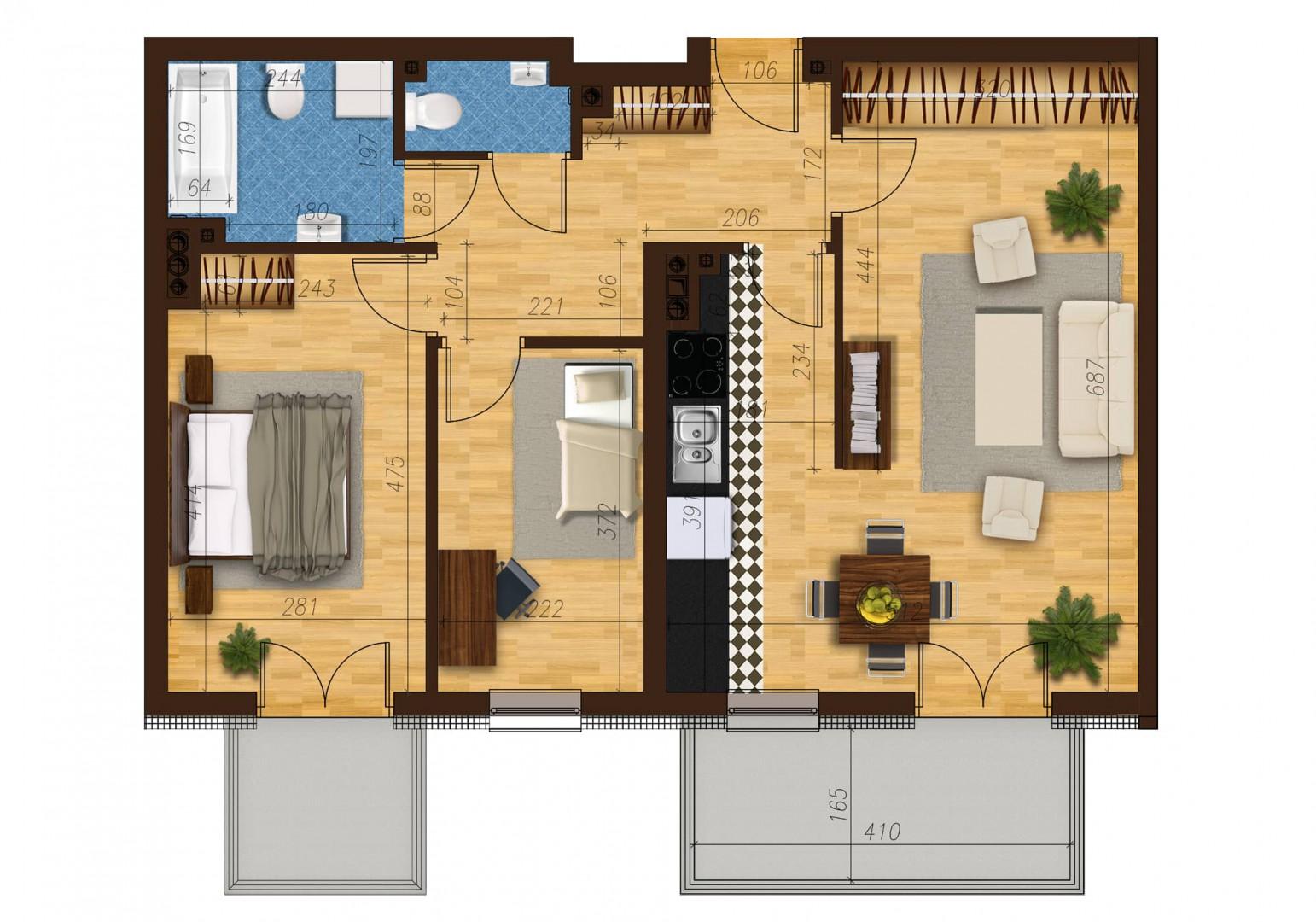 Mieszkanie trzypokojowe 33C/23 rzut 1