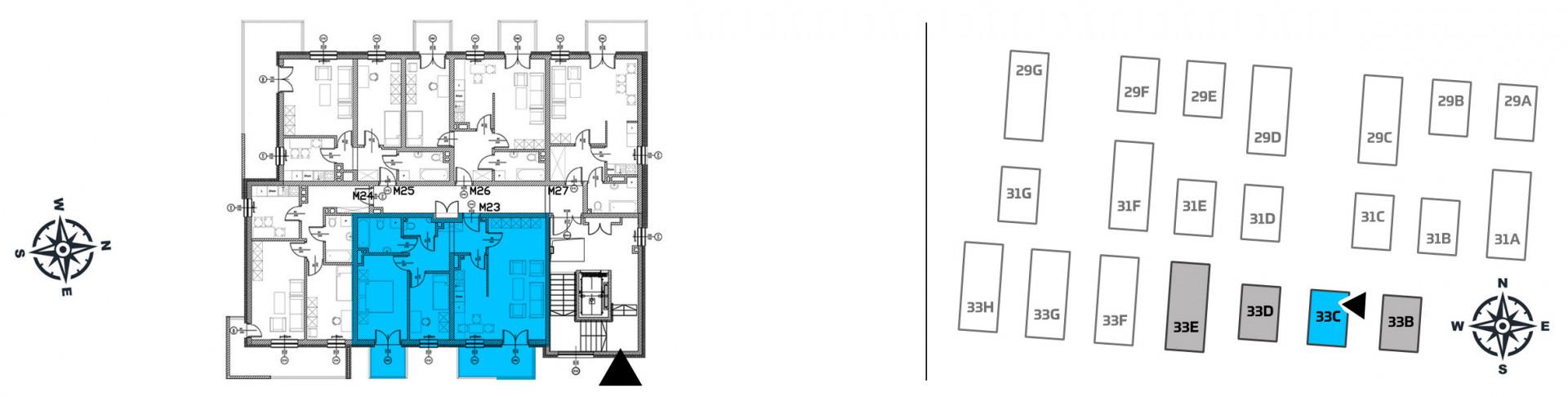 Mieszkanie trzypokojowe 33C/23 rzut 2