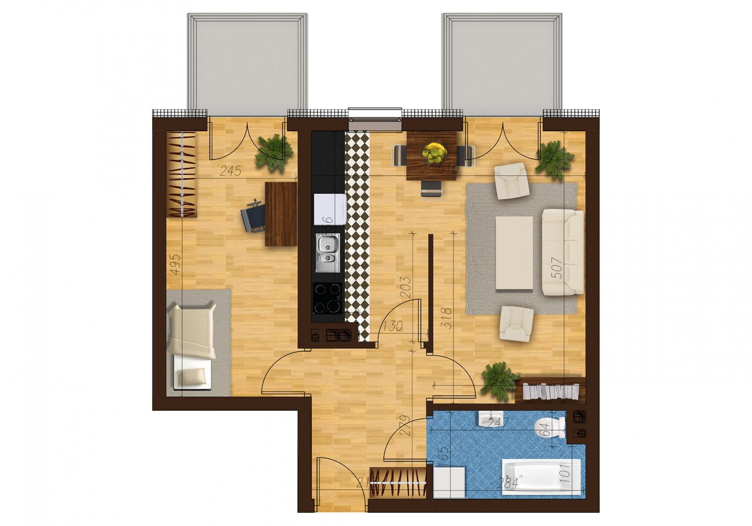 Mieszkanie dwupokojowe 33C/26 rzut 1