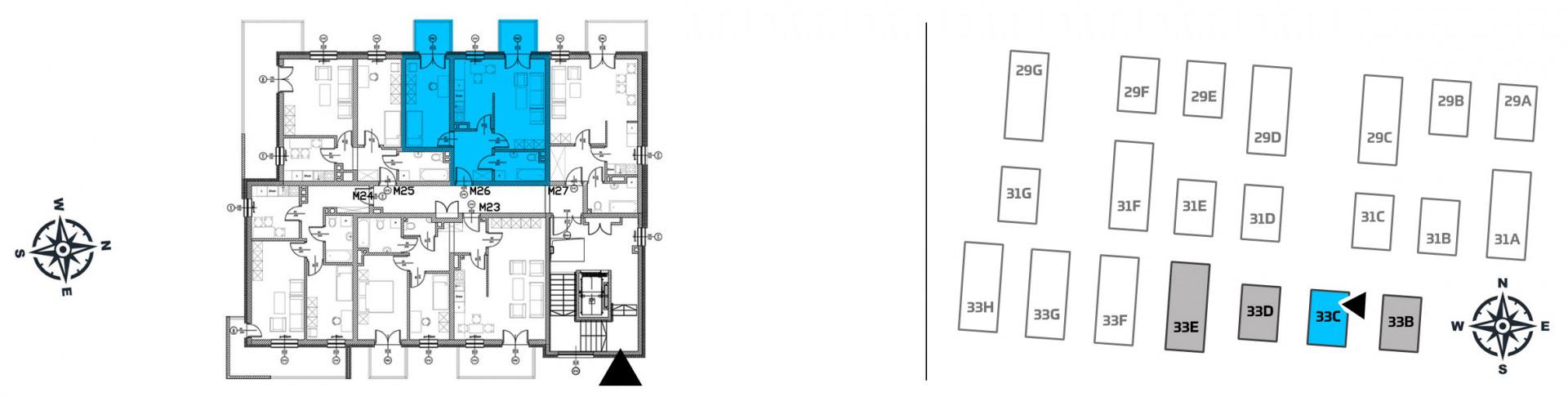 Mieszkanie dwupokojowe 33C/26 rzut 2