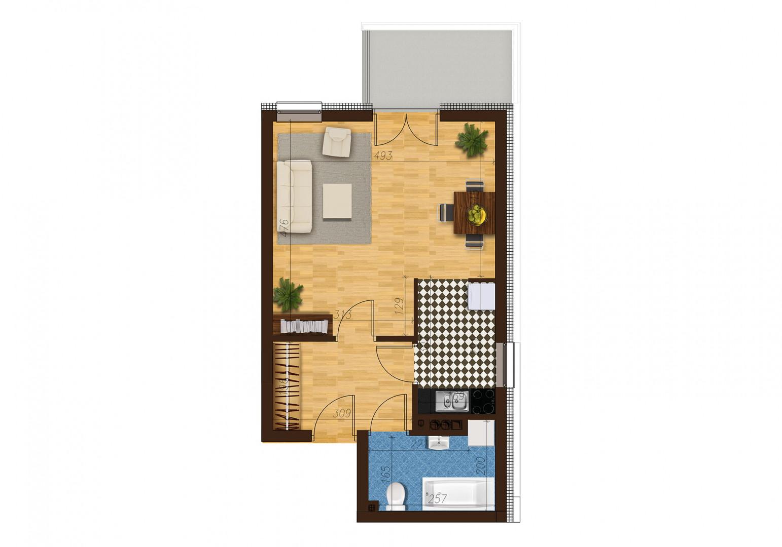 Mieszkanie jednopokojowe 33C/27 rzut 1
