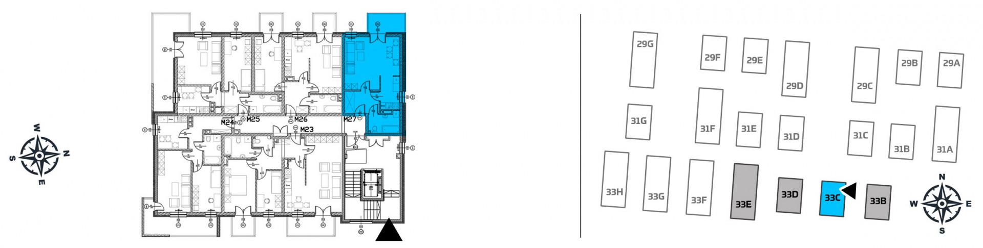 Mieszkanie jednopokojowe 33C/27 rzut 2