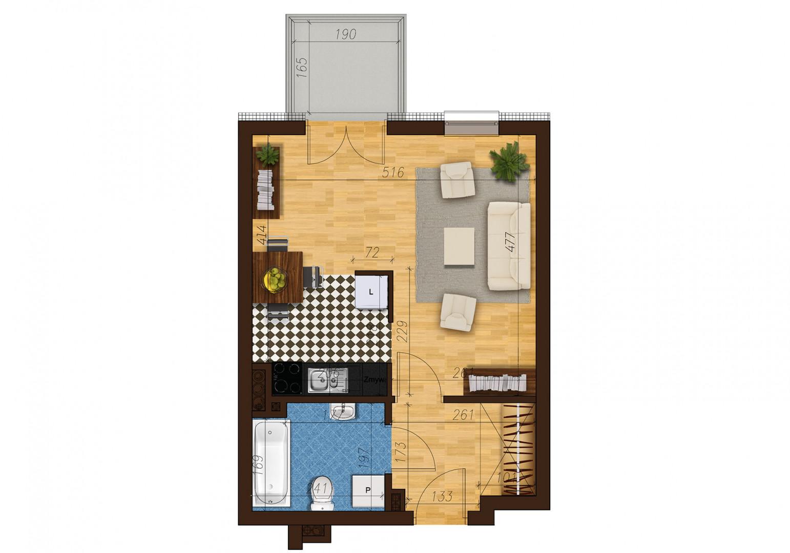 Mieszkanie jednopokojowe 33D/11 rzut 1