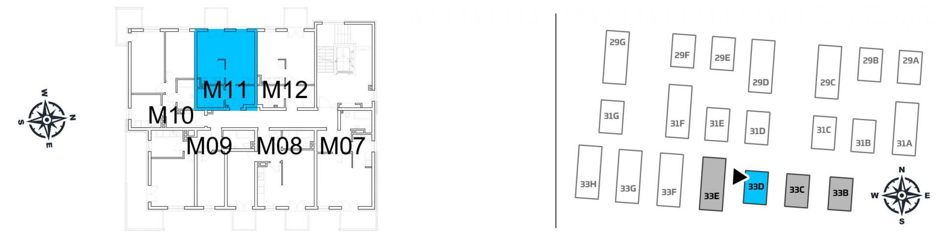Mieszkanie jednopokojowe 33D/11 rzut 2