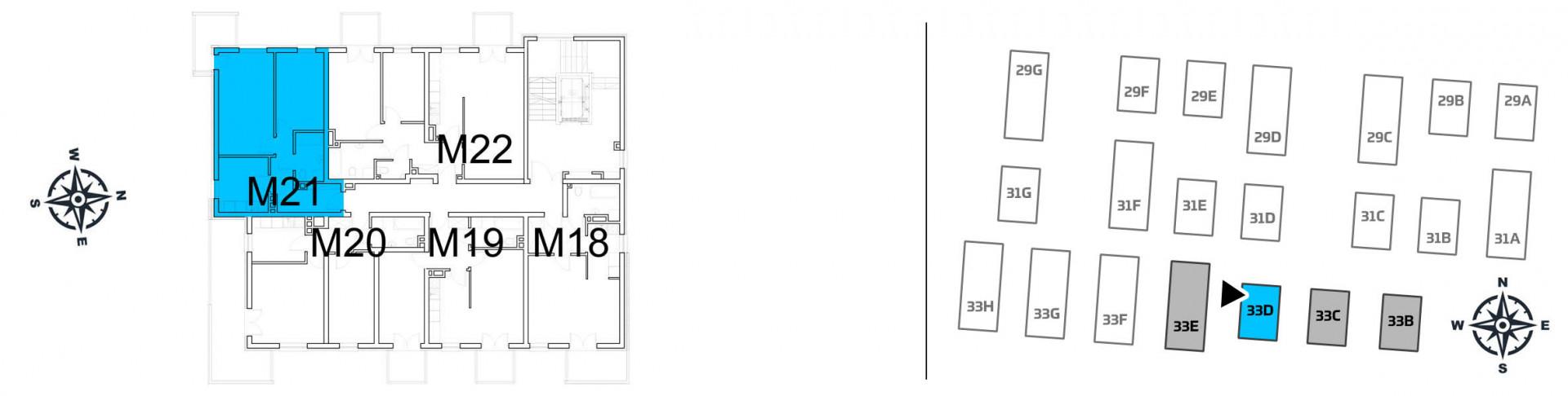 Mieszkanie dwupokojowe 33D/21 rzut 2