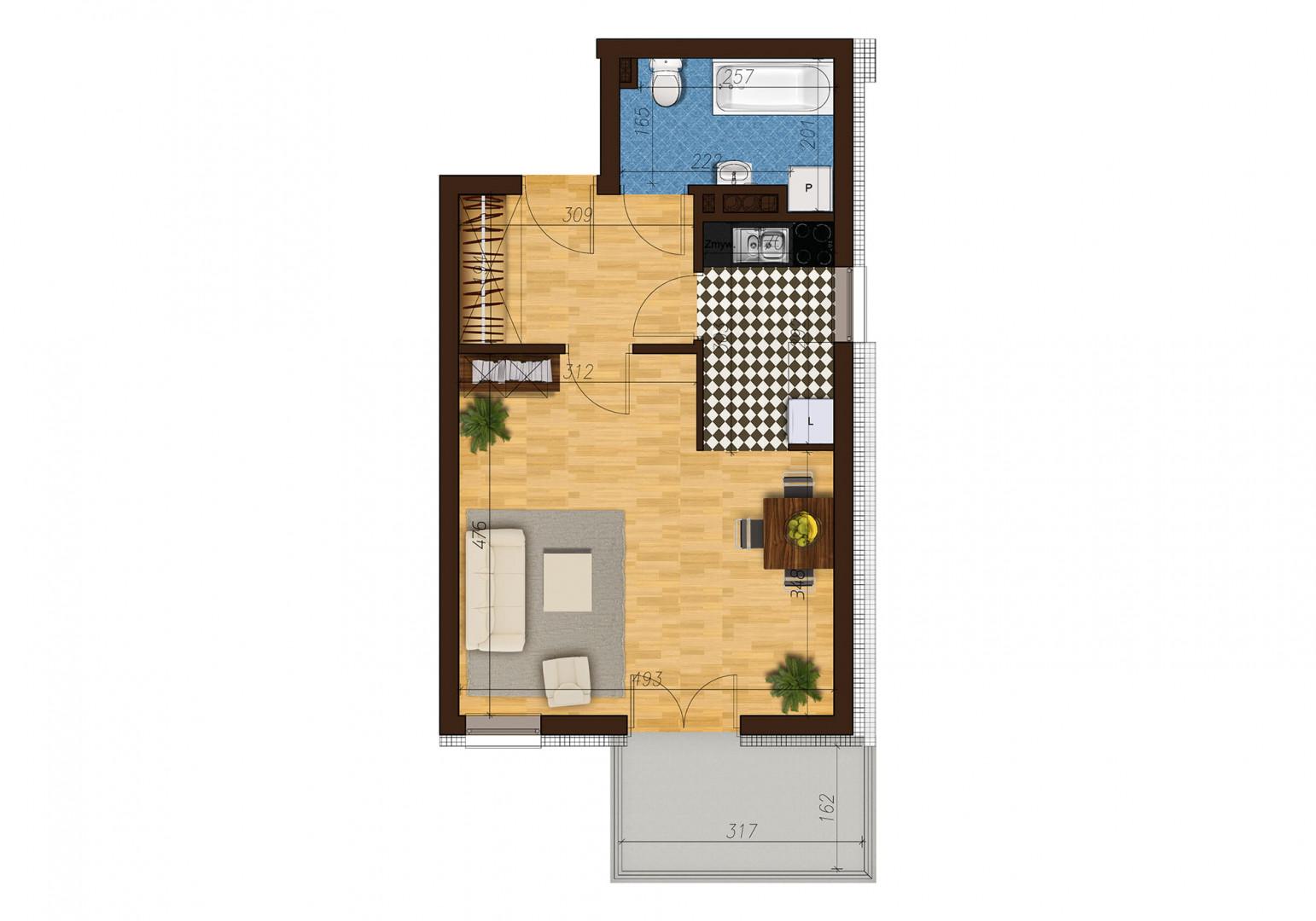 Mieszkanie jednopokojowe 33D/23 rzut 1