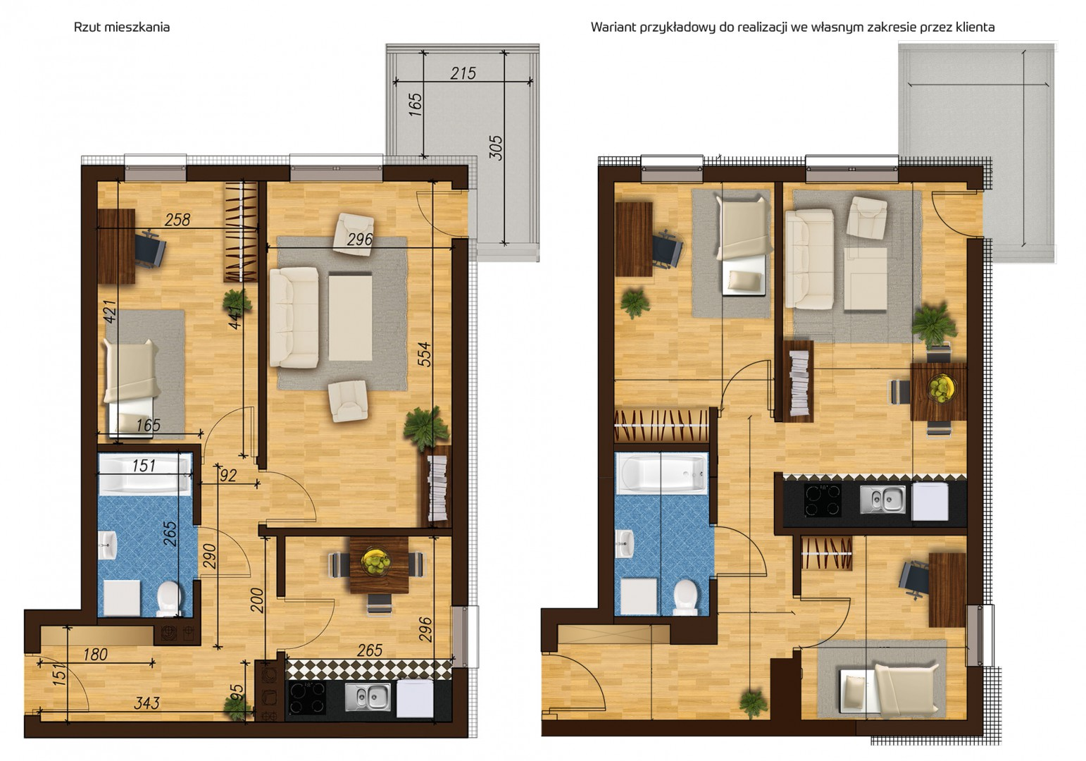 Mieszkanie dwupokojowe 33E/2 rzut 1