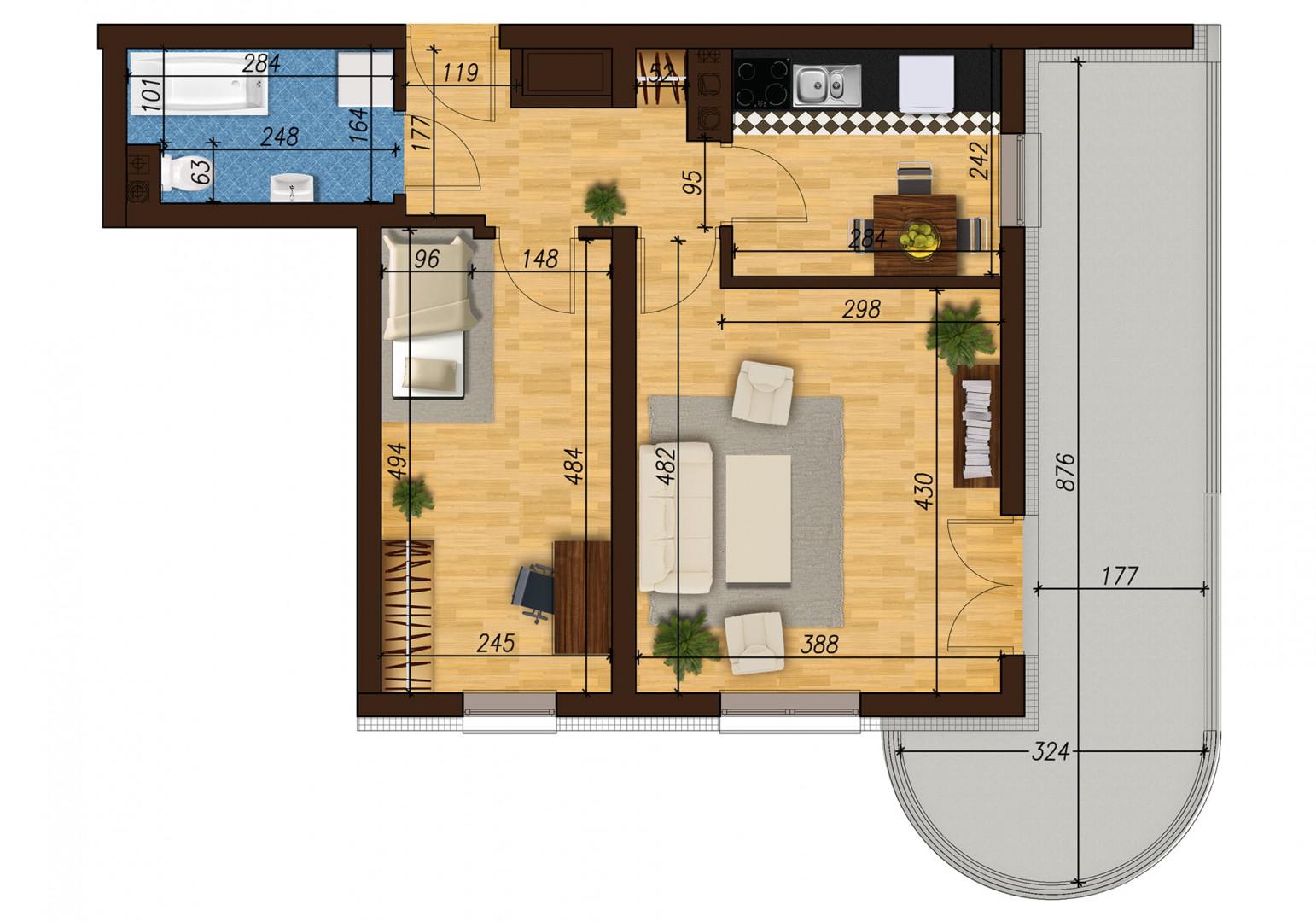 Mieszkanie dwupokojowe 33E/3 rzut 1