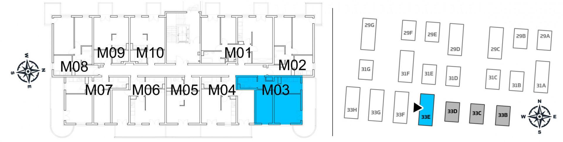 Mieszkanie dwupokojowe 33E/3 rzut 2