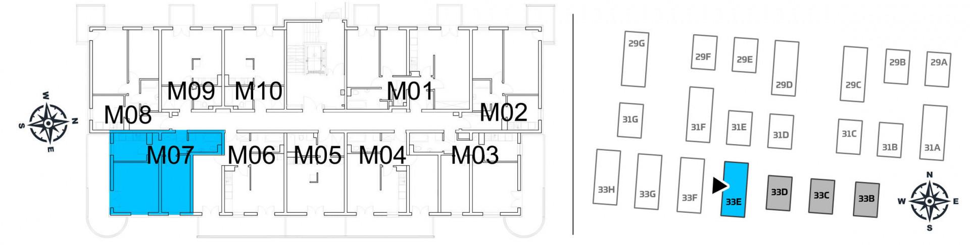 Mieszkanie dwupokojowe 33E/7 rzut 2