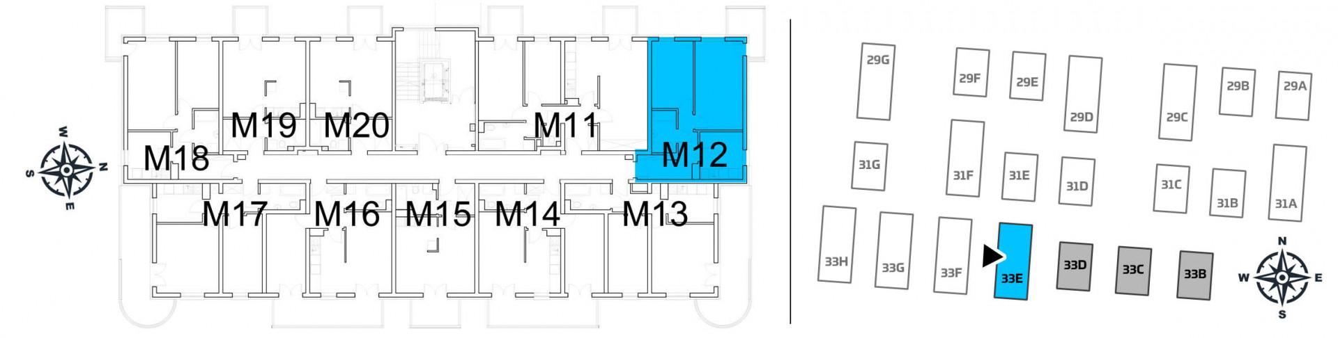 Mieszkanie dwupokojowe 33E/12 rzut 2