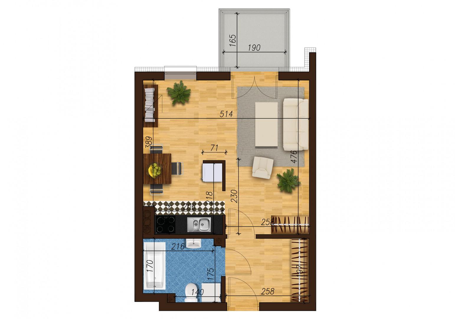 Mieszkanie jednopokojowe 33E/20 rzut 1
