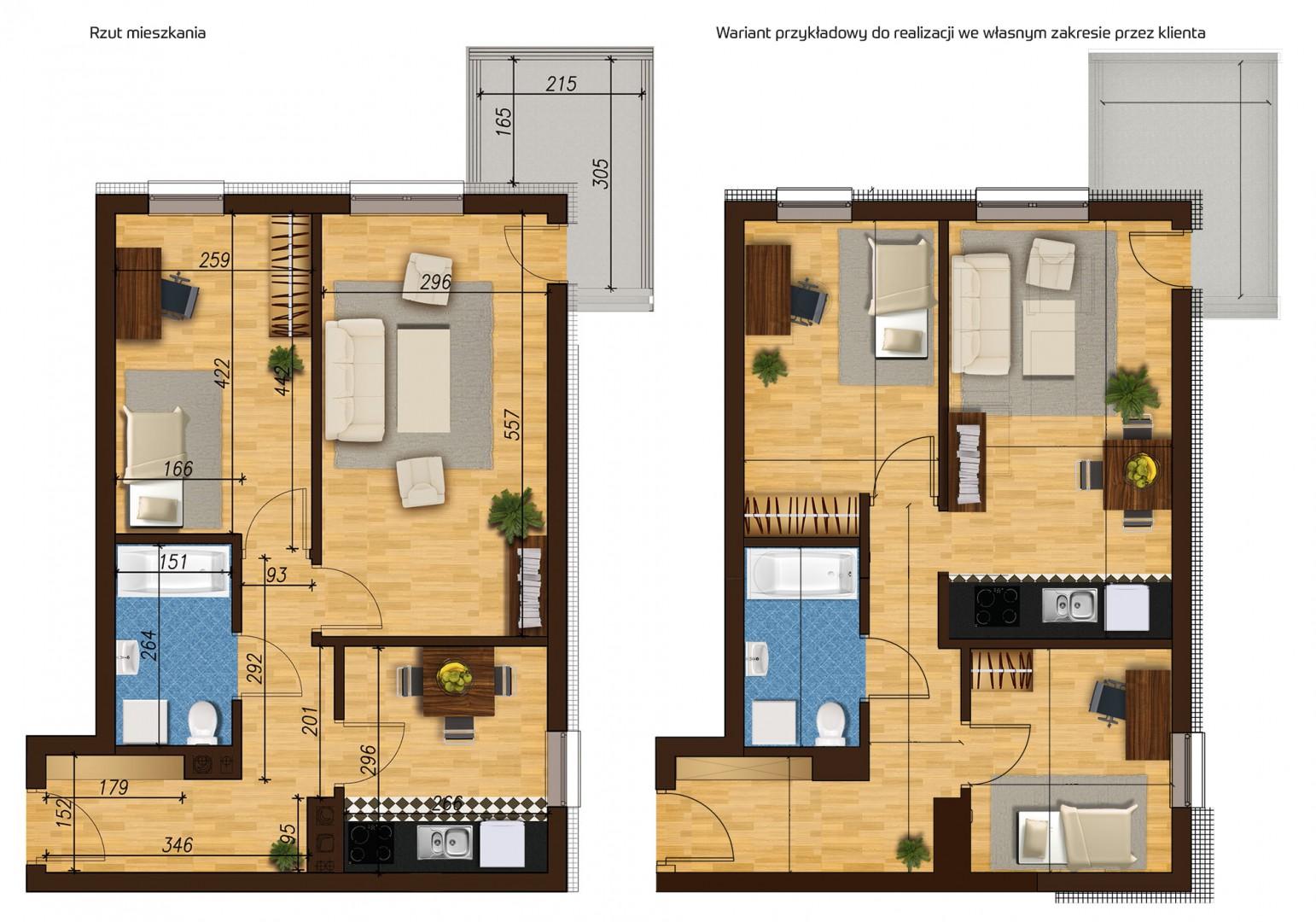 Mieszkanie dwupokojowe 33E/32 rzut 1