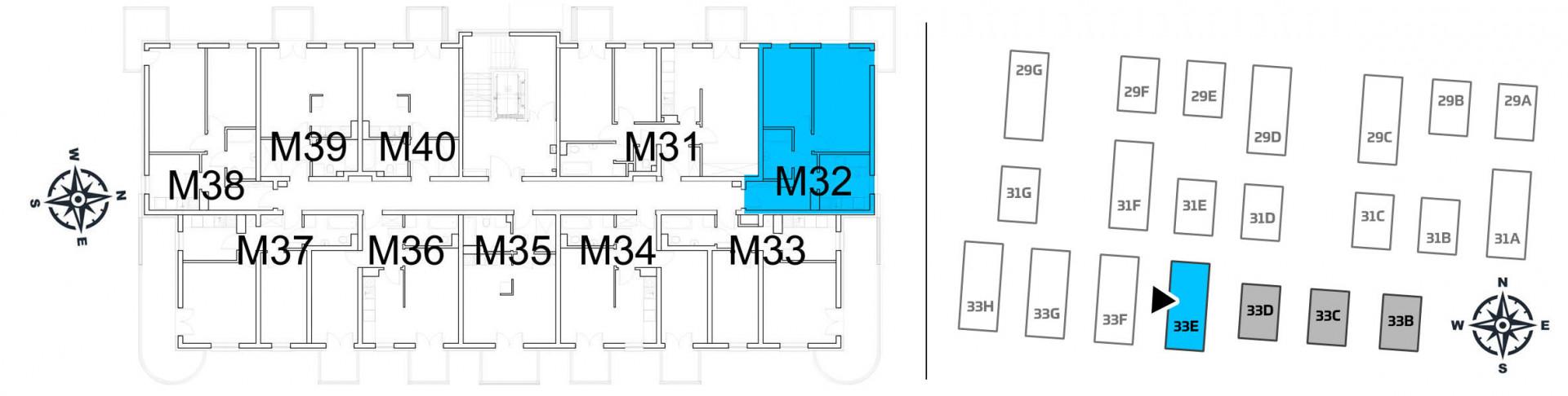 Mieszkanie dwupokojowe 33E/32 rzut 2