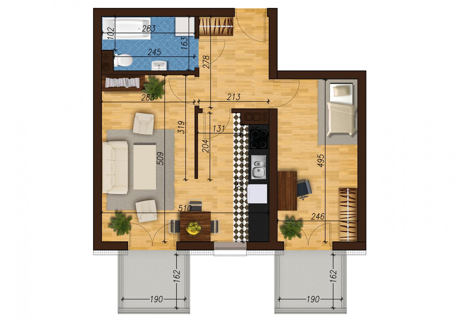 Mieszkanie dwupokojowe 33E/34 rzut 1