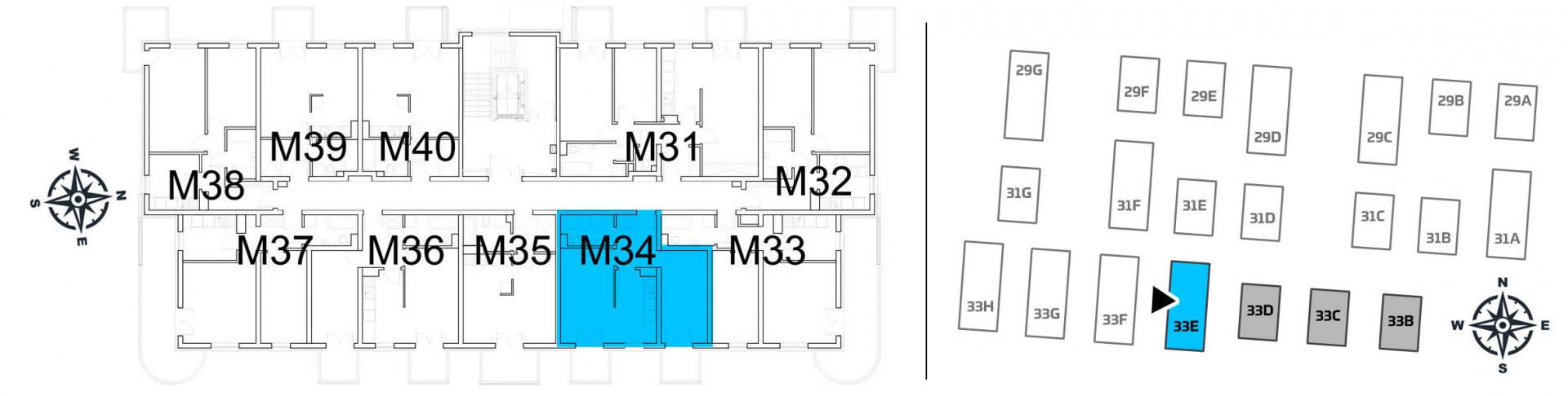 Mieszkanie dwupokojowe 33E/34 rzut 2