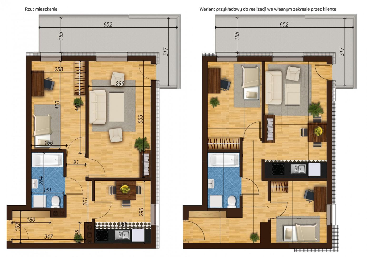 Mieszkanie dwupokojowe 33E/42 rzut 1