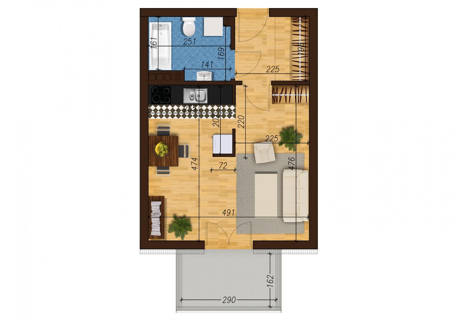 Mieszkanie jednopokojowe 33E/45 rzut 1