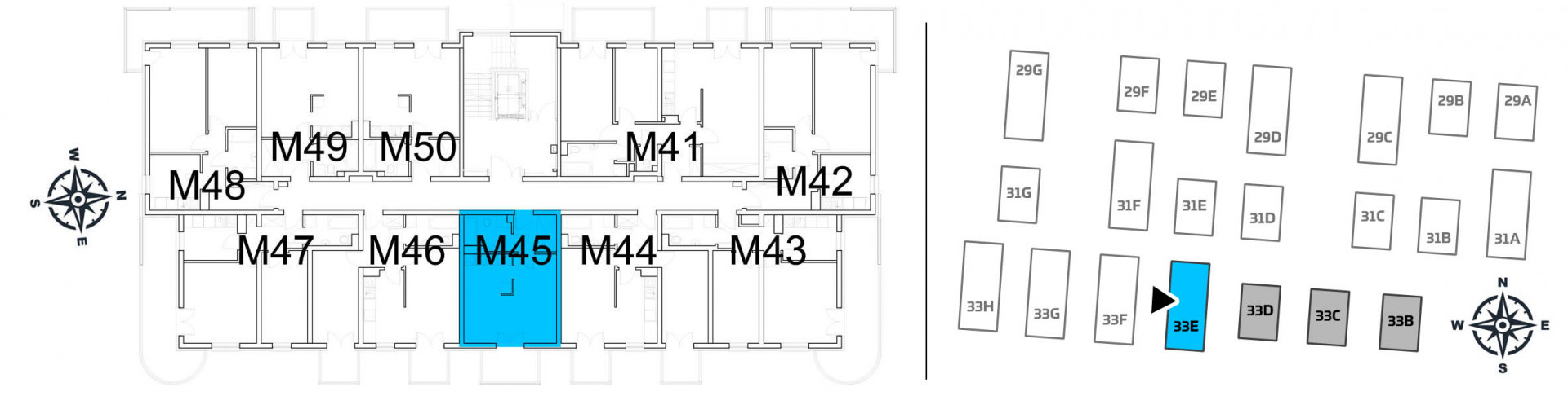 Mieszkanie jednopokojowe 33E/45 rzut 2