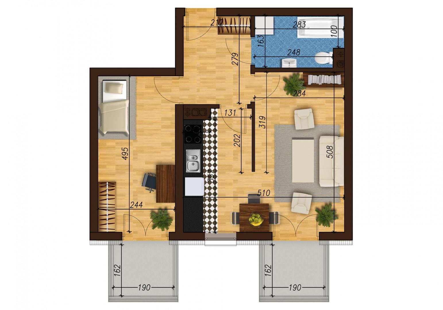 Mieszkanie dwupokojowe 33E/46 rzut 1