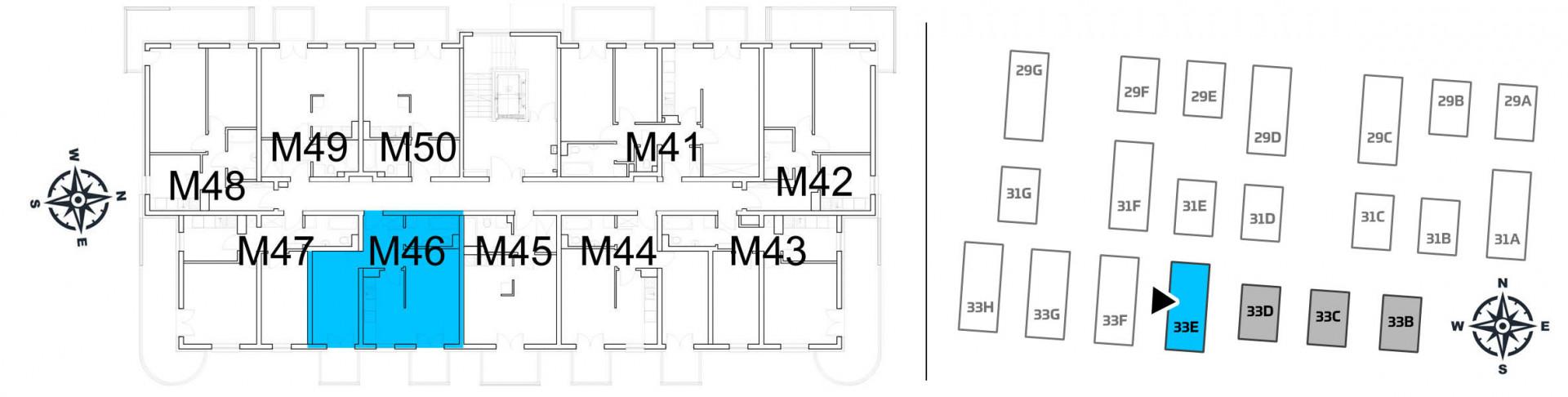Mieszkanie dwupokojowe 33E/46 rzut 2