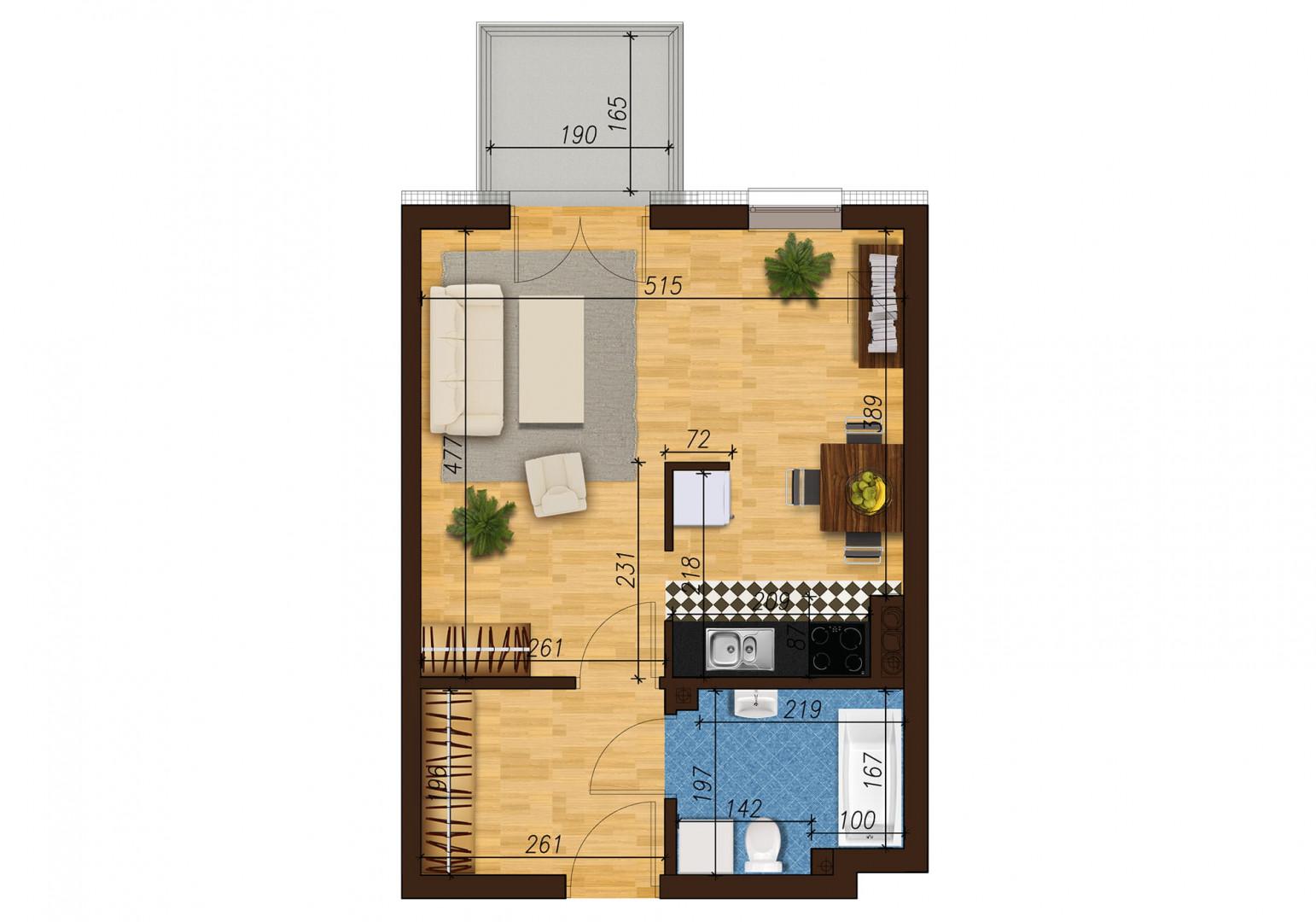 Mieszkanie jednopokojowe 33E/49 rzut 1