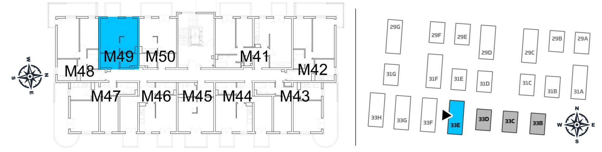 Mieszkanie jednopokojowe 33E/49 rzut 2