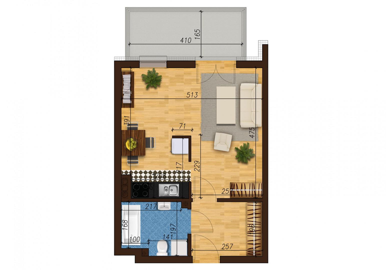 Mieszkanie jednopokojowe 33E/50 rzut 1