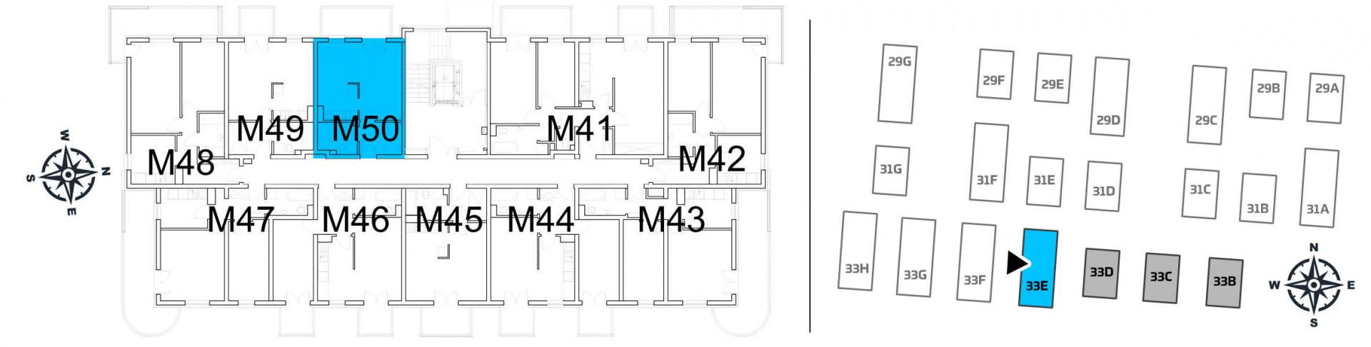 Mieszkanie jednopokojowe 33E/50 rzut 2